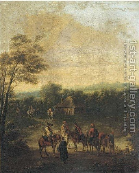 A wooded landscape with horsemen at halt by a cottage by (after) Francesco Giuseppe Casanova - Reproduction Oil Painting