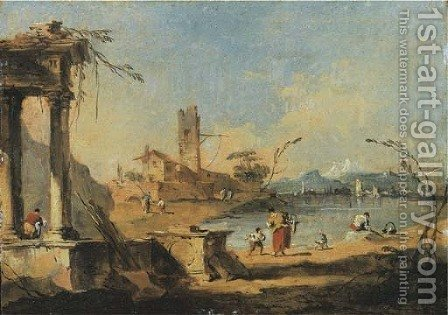 A capriccio of ruins on the Venetian laguna with washerwomen and other figures, mountains beyond by (after) Francesco Guardi - Reproduction Oil Painting