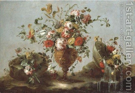 Roses, peonies and tulips in a gold sculpted urn with flowers in a pewter bowl by a rock pool by (after) Francesco Guardi - Reproduction Oil Painting