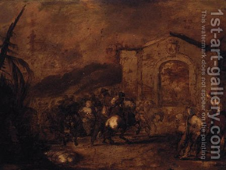 A cavalry skirmish before a classical gateway by (after) Francesco Simonini - Reproduction Oil Painting
