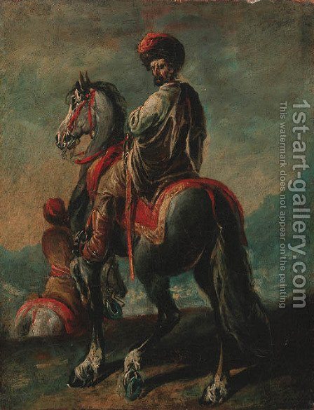 A mounted Turk by (after) Francesco Simonini - Reproduction Oil Painting