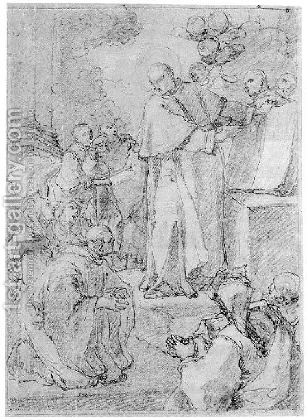 A Saint Presenting The Rules Of An Order To Monks And Nuns by (after) Francesco Trevisani - Reproduction Oil Painting