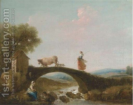 A river landscape with a girl walking over a bridge, anglers beneath by (after) Francesco Zuccarelli - Reproduction Oil Painting