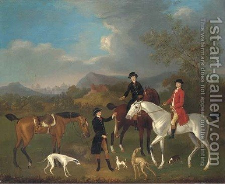 A coursing party in a landscape, a capriccio city beyond by (after)  J. Francis Sartorius - Reproduction Oil Painting