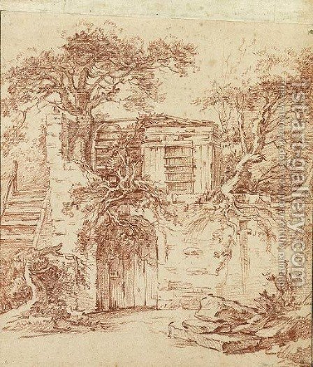 A garden shed built in the ruins of an old cottage overgrown with trees by (after) Francois Boucher - Reproduction Oil Painting