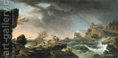 A shipwreck in stormy seas with survivors on a rocky outcrop by (after) Francois Valentin Gazard - Reproduction Oil Painting