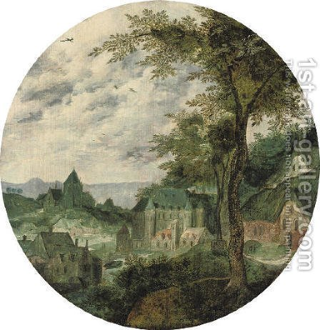 A river landscape with a town, a palace and a church by (after) Frans Mostaert - Reproduction Oil Painting