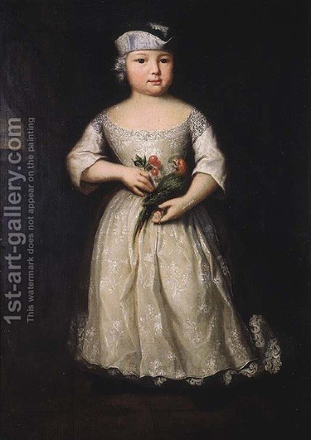 Portrait of a young girl by (after) Franz Lippold - Reproduction Oil Painting