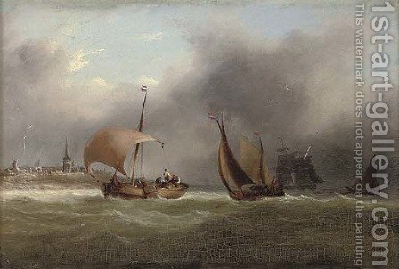 Barges and other shipping in a squall off the Low Countries by (after) Frederick Calvert - Reproduction Oil Painting