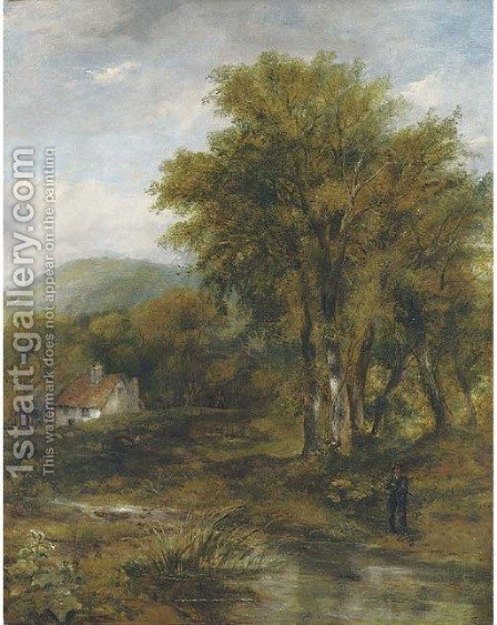 An angler in a wooded river landscape, a cottage beyond by (after) Frederick Waters Watts - Reproduction Oil Painting