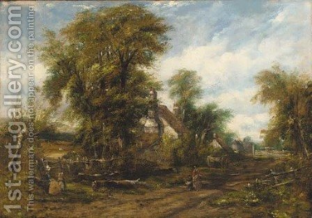 Figures before a cottage on a wooded path by (after) Frederick Waters Watts - Reproduction Oil Painting