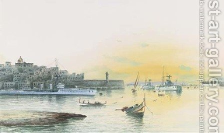 Battleships lying at anchor in Grand Harbour, Valetta by (after) Gaetano Esposito - Reproduction Oil Painting