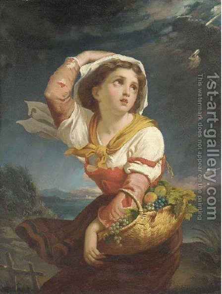A girl with a basket of fruit, a storm approaching by (after) Giuseppe Mazzolini - Reproduction Oil Painting