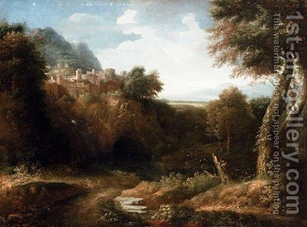 A river landscape with a walled town on a hill and a coastal view beyond by (after) Gaspard Dughet Poussin - Reproduction Oil Painting