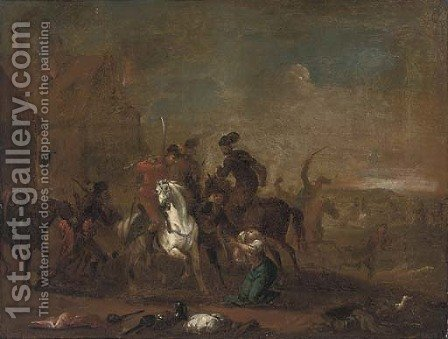A cavalry pillage by (after) Rugendas, Georg Philipp I - Reproduction Oil Painting