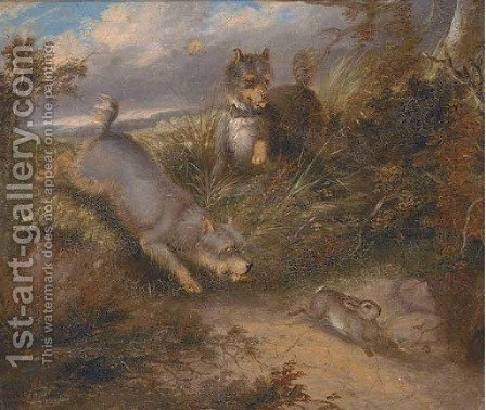 Terriers chasing a rabbit by (after) George Armfield - Reproduction Oil Painting