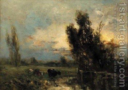 Cattle watering at dusk by (after) George Boyle - Reproduction Oil Painting
