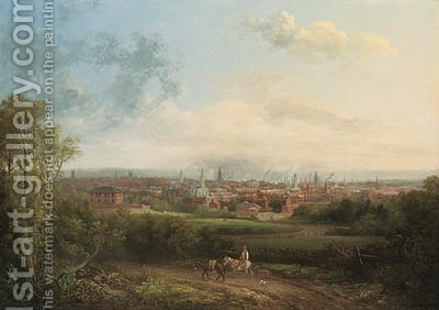 Leeds, Yorkshire by (after) George, The Younger Cuitt - Reproduction Oil Painting