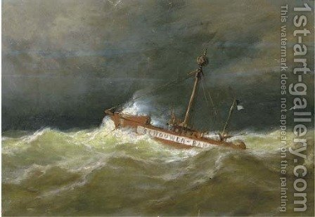 The Schouwen Bank light vessel at sea by (after) George Laurens Kiers - Reproduction Oil Painting