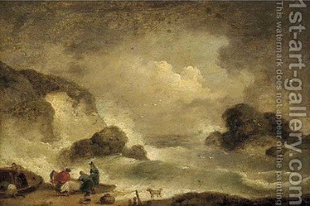 Fisherfolk on a beach by (after) George Morland - Reproduction Oil Painting