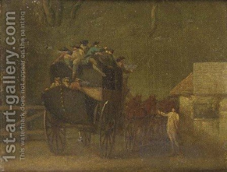 The turnpike gate by (after) George Morland - Reproduction Oil Painting