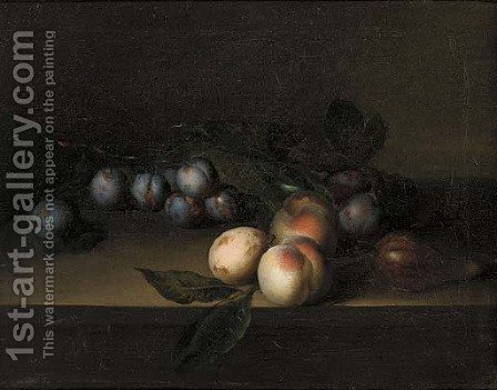 Plums, peaches and a fig, on a ledge by (after) George William Sartorius - Reproduction Oil Painting