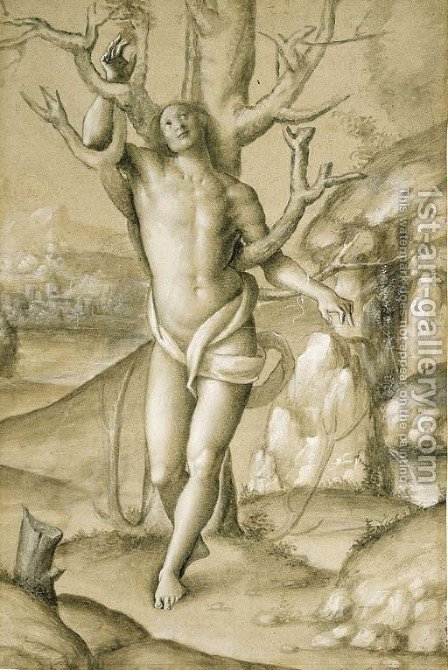 Saint Sebastian in an extensive landscape by (after) Gerolamo Giovenone - Reproduction Oil Painting