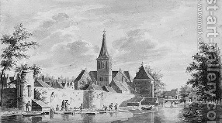 A view of the town walls of Vianen with the Landpoort by (after) Gerrit Toorenburg - Reproduction Oil Painting