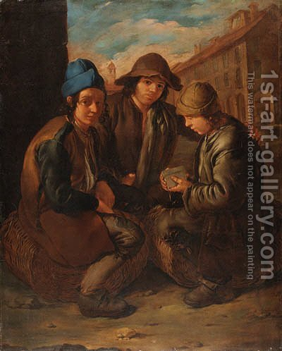 Urchins playing cards by (after) Giacomo Ceruti (Il Pitocchetto) - Reproduction Oil Painting