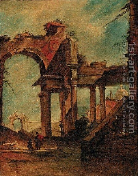 A capriccio of a ruined arch and colonnade, a dome beyond by (after) Giacomo Guardi - Reproduction Oil Painting