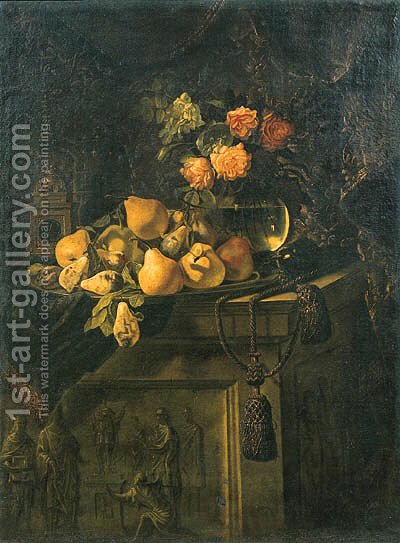 Fruit on a plate by (after) Giovanni Battista Salvi - Reproduction Oil Painting