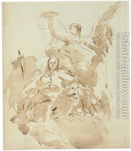 Saint Mark attended by an angel and a lion by (after) Giovanni Domenico Tiepolo - Reproduction Oil Painting