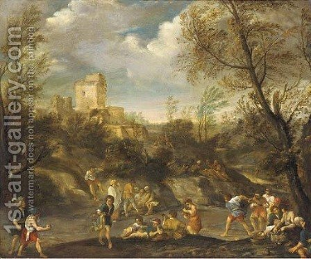 A wooded landscape with figures making merry by (after) Giovanni Francesco Grimaldi - Reproduction Oil Painting