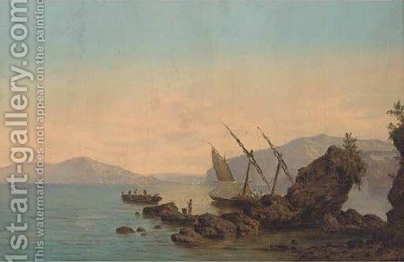 A xebec moored in the bay of Naples, her crew fishing from a longboat by (after) Giovanni Serritelli - Reproduction Oil Painting