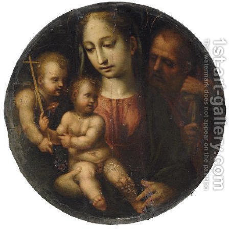 The Holy Family with the Infant Saint John the Baptist by (after) Girolamo Del Pacchia - Reproduction Oil Painting