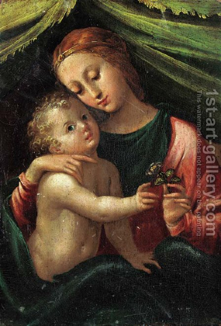 The Madonna and Child by (after) Girolamo Mazzola Bedoli - Reproduction Oil Painting