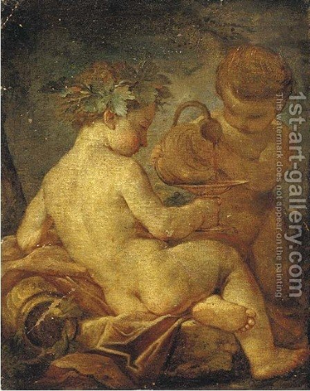 The Nurture of Bacchus by (after) Giulio Carpione - Reproduction Oil Painting