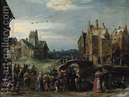 A carnival procession in a village street on Shrove Tuesday by (after) Govaert Jansz., Called Mijnheer - Reproduction Oil Painting
