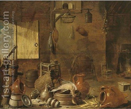 Earthenware, a drake and vegetables in a barn, with a woman cooking at a fire by (after) Govert Dircksz. Camphuysen - Reproduction Oil Painting