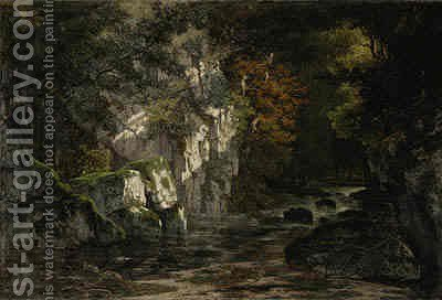 Gorge de la Loue, Jura by (after) Gustave Courbet - Reproduction Oil Painting
