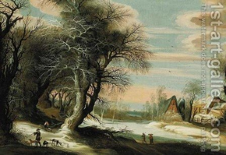 A winter landscape with a barn and travellers passing through, a city beyond by (after) Gijsbrecht Leytens - Reproduction Oil Painting