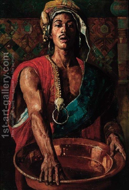 An oriental man with a copper bowl by (after) Gyula Tornai - Reproduction Oil Painting