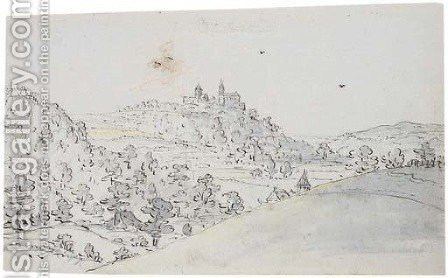 An extensive landscape with the Castle of Blankenstein in the distance by (after) Hendrick Feltman - Reproduction Oil Painting