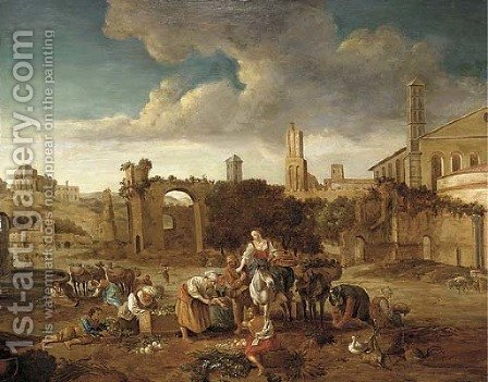 A Roman capriccio with a market amongst classical ruins by (after) Hendrick Mommers - Reproduction Oil Painting
