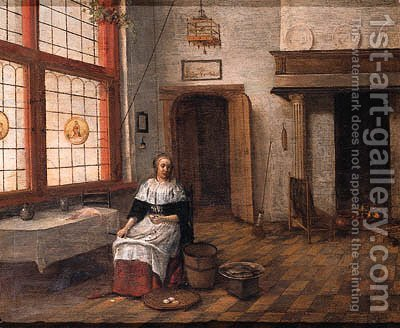 A maid seated by a table in a kitchen by (after)  Hendrick Van Der Burgh - Reproduction Oil Painting