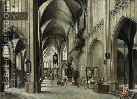 The interior of a Gothic church with a friar preaching from a pulpit by (after) Hendrick Van Steenwijck II - Reproduction Oil Painting