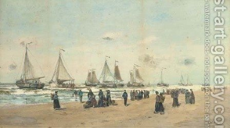 The Scheveningen fishing fleet setting off to the fishing grounds by (after) Hendrik Willem Mesdag - Reproduction Oil Painting
