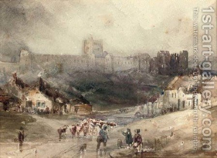 Droving cattle below Richmond Castle, Yorkshire by (after) Henry Barlow Carter - Reproduction Oil Painting