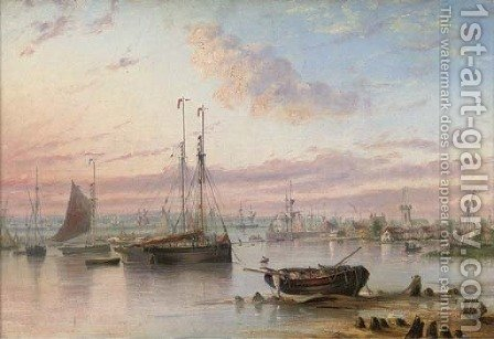 Shipping in the harbour at dusk by (after) Henry Redmore - Reproduction Oil Painting