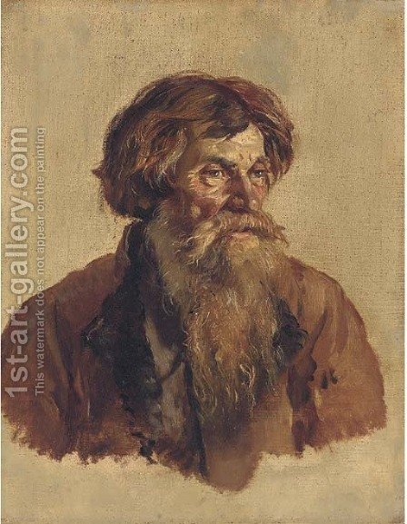 Portrait of an old man by (after) Ilya Efimovich Efimovich Repin - Reproduction Oil Painting